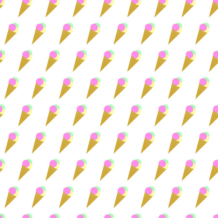 Seamless pattern summer beach ice cream cone background with template in swatches for your convenience. Easy to use. Cartoon flat style illustration.