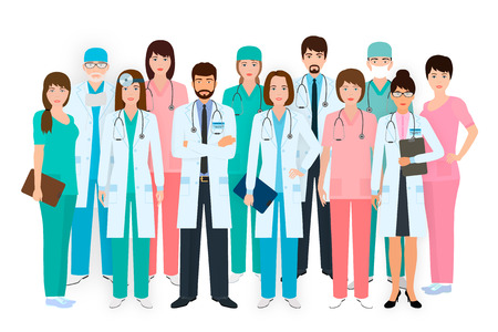 Group of doctors and nurses standing together in different poses. Medical people. Hospital staff. Flat style vector illustration.