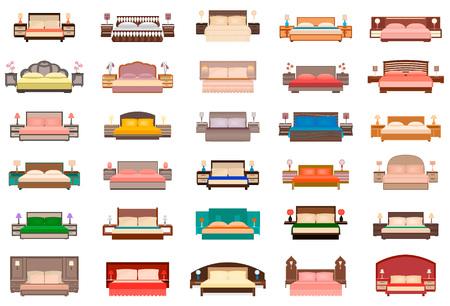 #78152156   Großes Set Betten Mit Nachttischen, Lampen Und Kopfteile.  Schlafzimmermöbelgruppe Im Flachen Stil. Innenarchitektur  Vektor Illustration.