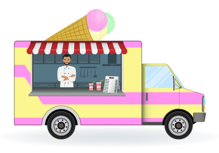 白い背景で隔離のアイスクリーム車。モバイルお菓子ショップ ベクトル イラスト。夏の冷たいデザートやドリンクは、バンを販売します。車輪のコ