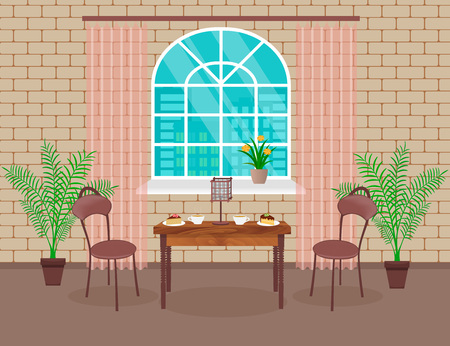 condo: Loft interior design. Living room with brick wall, table, chairs, hot coffee and dessert, lamp, window with arch. Vector illustration. Illustration