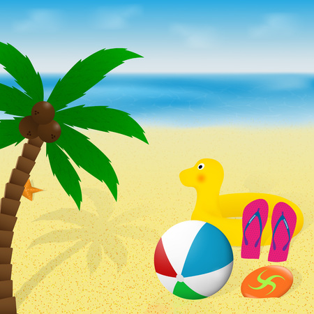 Summertime greeting card. Summer vacation banner design. Palm tree, beachball, flip flops, rubber duck and flying disk on a tropical sea beach. Vector illustration. Illustration