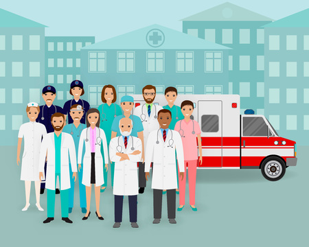 Medical team.. Group of doctors and nurses and ambulance car on cityscape background. Emergency medical service employee. Hospital staff concept. Flat style vector illustration.