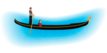 Venice romantic gondolier carries a woman in a gondola. Italian man profession for tourists. Isolated on a white background with part of water. EPS10 vector illustration. 向量圖像