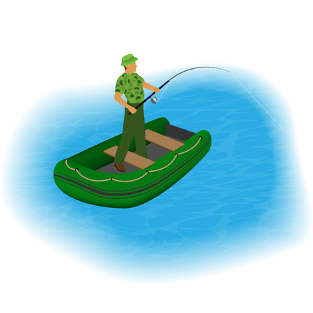 Fisherman standing in a inflatable boat with fishing rod and stretched line. Fisher character on a lake taking fish from water. People outdoor activity. Vector illustration. Illustration
