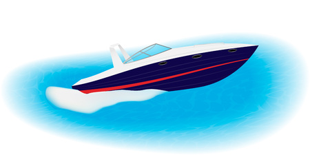 Fast motorboat sails on speed through sea. Luxury boat for active rest. Isolated on a white background. EPS10 vector illustration.
