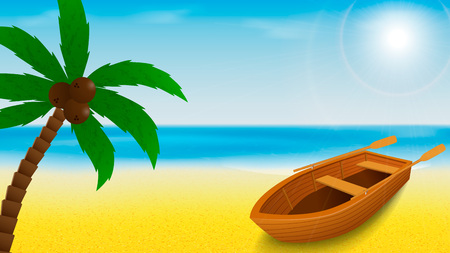 Summer beach template with rowing boat and palm tree on a foreground and tropical blue sea on a background. Vector illustration.