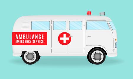 urgency: Retro ambulance car. Emergency medical service vehicle. Hospital transport. Flat style vector illustration.