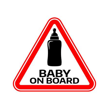 Baby on board sign with child bottle silhouette in red triangle on a white background. Car sticker with warning. Vector illustration. Illustration
