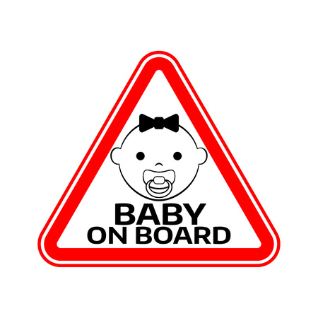 Baby on board sign with child girl smiling face with nipple silhouette in red triangle on a white background. Car sticker with warning. Vector illustration.