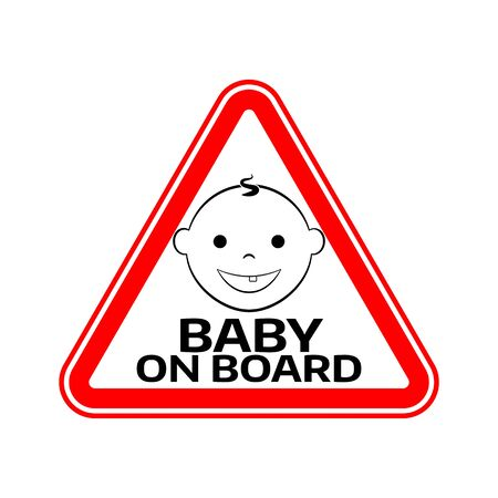 bebe a bordo: Baby on board sign with child boy smiling face silhouette in red triangle on a white background. Car sticker with warning. Vector illustration.