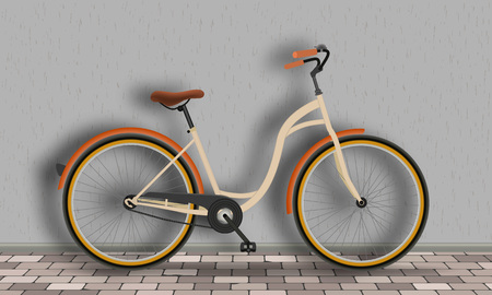 Vintage bicycle stands against the wall on the brick floor. Fitness and sport activity concept. Vector illustration.
