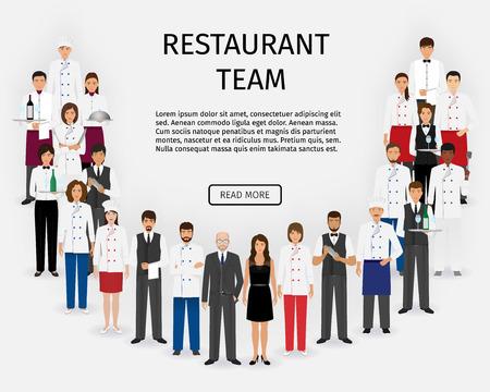 Het restaurantteam van het hotel. Groep cateringsdienstkarakters die zich in eenvormig verenigen. Voedsel service personeel website banner. Vector illustratie.