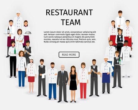 Hotel restaurant team. Group of catering service characters standing together in uniform. Food service staff website banner. Vector illustration. Çizim