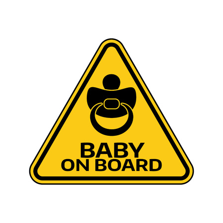 Baby on board sign with child nipple silhouette in yellow triangle on a white background. Ilustrace