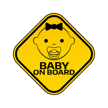 Baby on board sign with child girl smiling face with nipple silhouette. Illustration