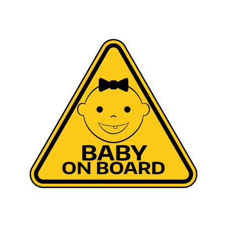 bebe a bordo: Baby on board sign with child girl smiling face silhouette.
