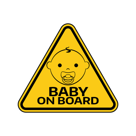 bebe a bordo: Baby on board sign with child boy smiling face with nipple silhouette.