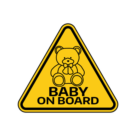 Baby on board sign with child bear toy silhouette in yellow. Illustration