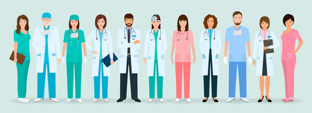 Group of doctors and nurses standing together. Medical people. Hospital staff. Flat style vector illustration. Stok Fotoğraf - 81666219