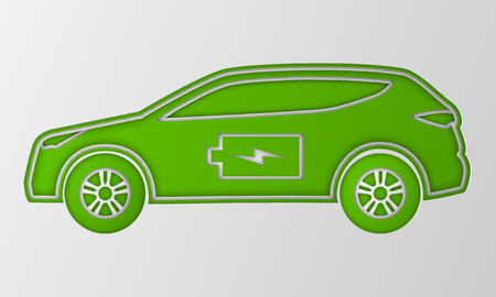 Green hybrid car in paper art style. Electric powered environmental vehicle side view. Illustration