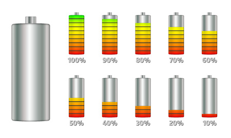 Battery charge level indicators with gradient. Set of discharge and fully charged power cells icons to your design. Vector illustration infographics.