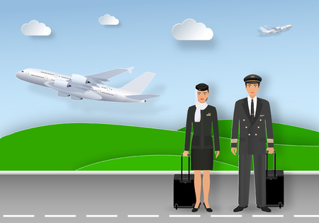 Paper art card with muslim pilot and stewardess in uniform and hijab standing on airport runway. Airlines service occupation characters with fly planes background. Origami style vector illustration Illustration