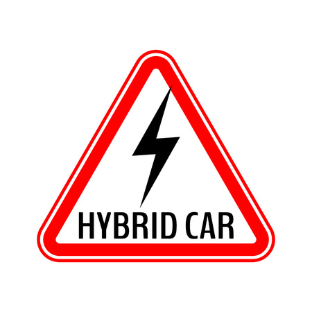 Hybrid car caution sticker. Save energy automobile warning sign. Lightning icon in red triangle to a vehicle glass. Vector illustration.
