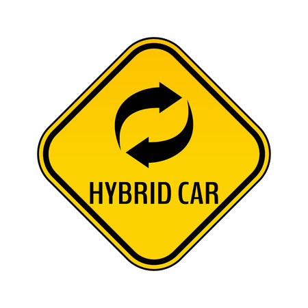Hybrid car caution sticker. Save energy automobile warning sign. Recycle icon in yellow and black rhombus to a vehicle glass. Vector illustration.
