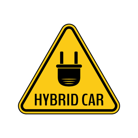 Hybrid car caution sticker. Save energy automobile warning sign. Electric plug icon in yellow and black triangle to a vehicle glass. Vector illustration. Illustration