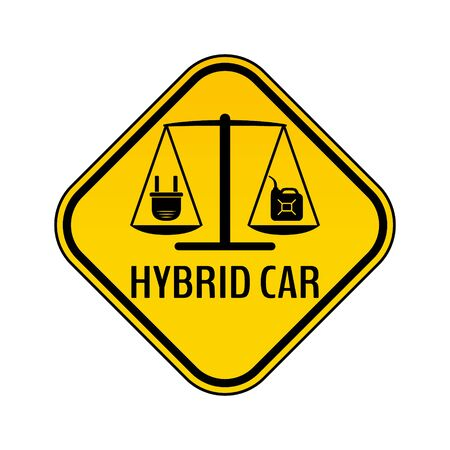 Hybrid car caution sticker. Save energy automobile warning sign. Electric plug and fuel canister icon in yellow and black rhombus to a vehicle glass. Vector illustration. Illustration