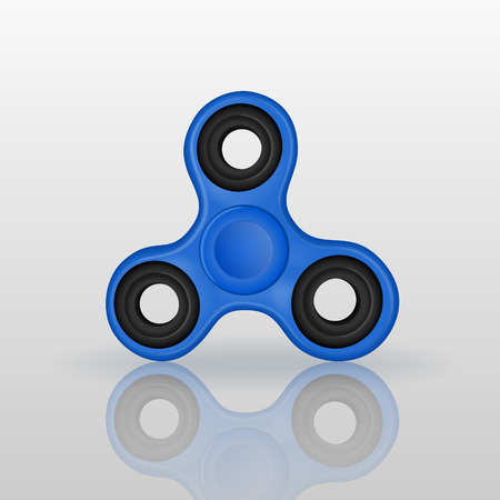 Realistic fidget spinner with mirror reflection. Hand rotation antistress toy for relax. Twist bauble to making tricks. Vector illustration. Illustration