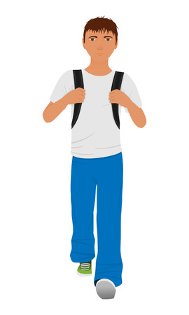 rucksack: Walking schoolboy with schoolbag behind his back isolated on a white background. Vector illustration.