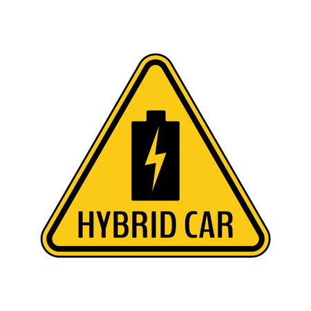 Hybrid car caution sticker. Save energy automobile warning sign. Charging battery icon in yellow and black triangle to a vehicle glass. Vector illustration.