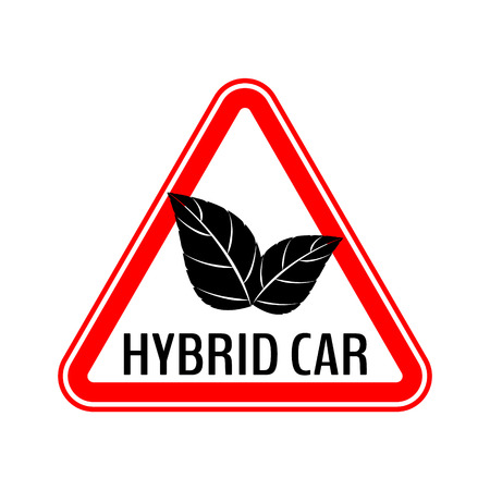 Hybrid car caution sticker. Save energy automobile warning sign. Eco leaves icon in red triangle to a vehicle glass. Vector illustration. Illustration