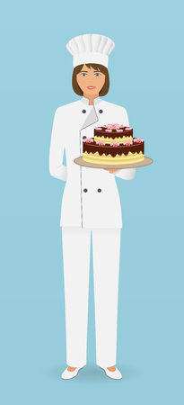 Woman confectioner character standing in uniform with a gorgeous cake. Pastry cook hold beautiful pie on a hand. Vector illustration. Ilustracja