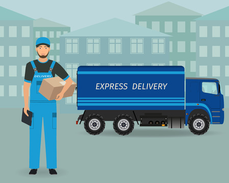 delivery service: Delivery employee character standing with folder and package on a express delivery service car background. Post workers concept. Vector illustration.