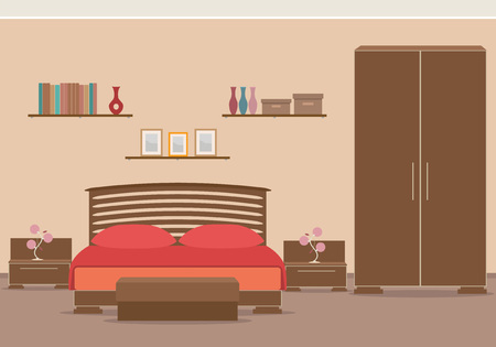 Bedroom design interior with furniture, bed, wardrobe, bookshelf. Vector illustration in flat style.
