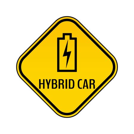 Hybrid car caution sticker. Save energy automobile warning sign. Charging battery contour icon in yellow and black rhombus to a vehicle glass. Vector illustration.