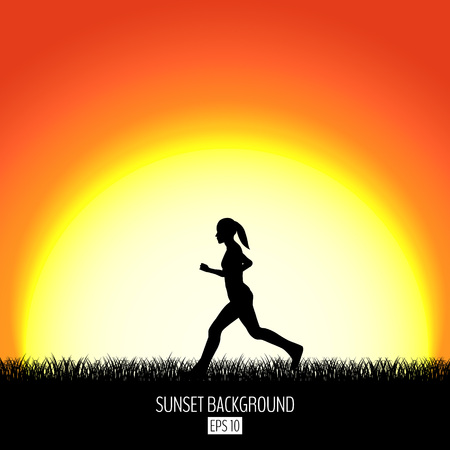 Sunset background with running woman black silhouette.