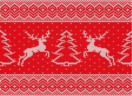 鹿とクリスマス ツリー クリスマスオーナメント ニット。クリスマスのシームレスなパターン。冬の赤い色のセーターのテクスチャをニットします