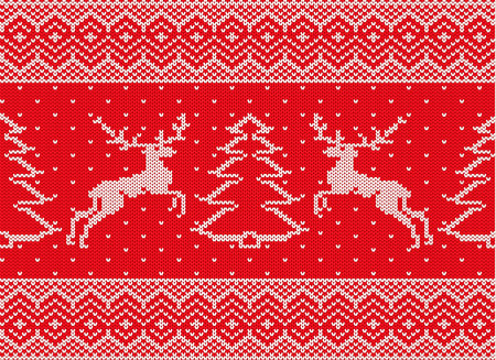 Knitted christmas ornament with deers and christmas tree. Xmas seamless pattern. Knit winter red color sweater texture. Vector illustration. Illustration