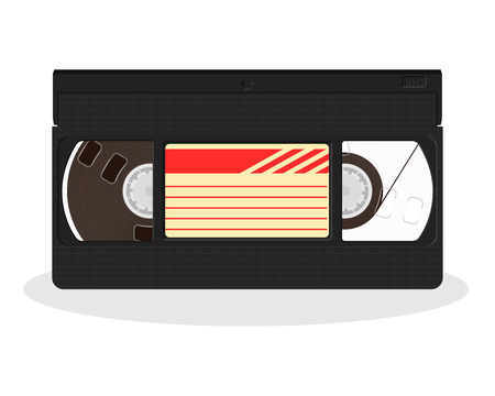 Retro video cassette isolated on a white background. Vintage style movie storage icon. Old record video recorder tape. Vector illustration.
