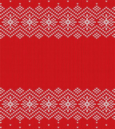 Knit christmas geometric ornament design. Xmas seamless pattern. Knitted winter red color sweater texture. Vector illustration.