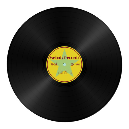 Realistic gramophone vinyl record in retro style with yellow label.