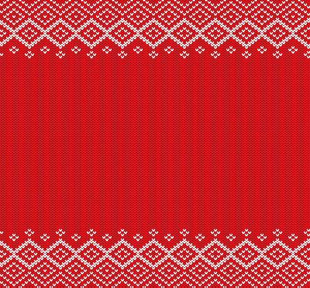 Holiday knitted geometric ornament with empty space for text. Xmas seamless pattern. Knit christmas winter sweater design. Vector illustration. Illustration