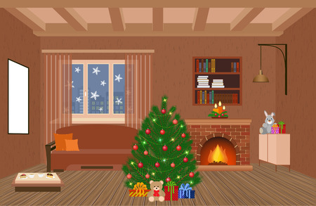 Living room interior holiday design with fireplace, christmas tree and gifts in hipster style. Christmas domestic decor. Vector illustration.