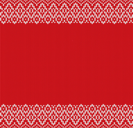 Knit geometric ornament design with empty space for text. Christmas seamless pattern. Knitted winter sweater texture. Vector illustration. Illustration