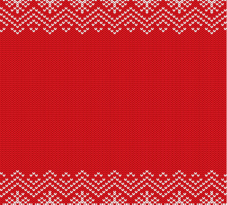 Holiday knitted red ornament design with empty space for text. Christmas seamless pattern. Knit winter sweater texture. Vector illustration. Illustration