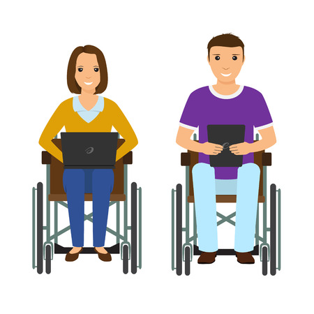 Electronic learning disability people man and woman in wheelchair. Invalid male and female with laptop and ebook isolated on a white background. Flat style vector illustration.